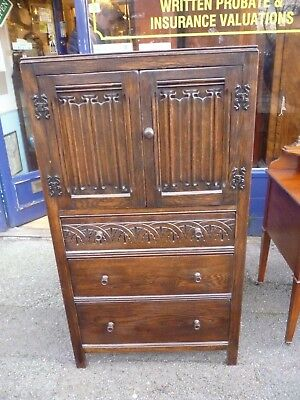 Antique Oak Tallboy Drawers In The Tudor Style With Linen Fold Panels