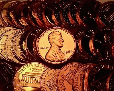 1964 Proof Lincoln Cent Penney Roll 50 Coins In A Tube !!$$