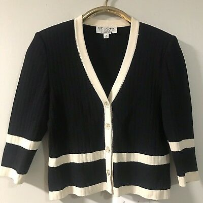 St.john Collection By Marie Gray Off Beige Santana Knit Cardigan Jacket Blazer 6