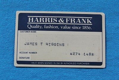 Harris & Frank Charge Card , Expired - Vintage
