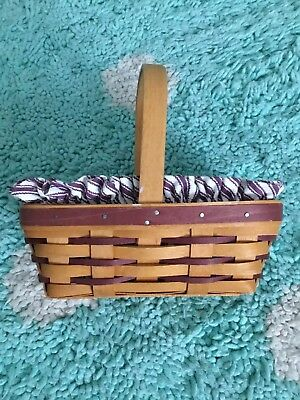 Longaberger Medium/Small Berry Basket Liner Protector 1997 Maroon Stripe Handle