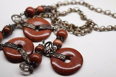 Antique Chinese Sautior Court Sterling Silver Goldstone Pearl Necklace