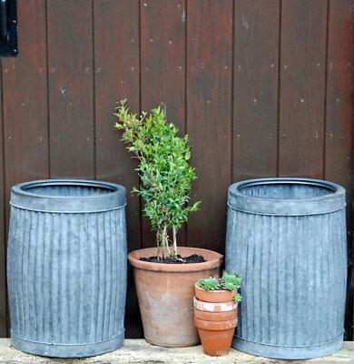 Matching pair small vintage style round zinc dolly planters