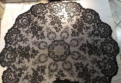 """ANTIQUE Large Handmade Vintage  French Lace round TABLECLOTH - 90"""" NWT Perfect"""