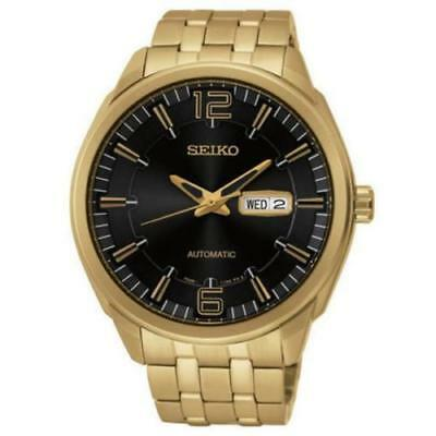 Seiko Men's SNKN48 Recraft Black Dial Automatic Gold Tone Watch