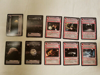 Lot of 60 Star Wars collectible trading game cards with rule book
