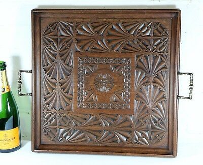 A Large Antique Wooden Butlers Tray Hand Carved Teak Asian Early 20th Century