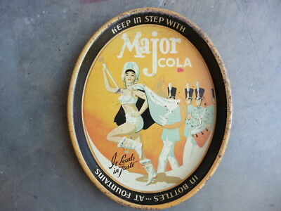 1940s Major Cola Tin Litho Soda Serving Tray w Pin Up Majorette & Marching Band