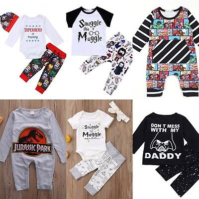 Various Themes Baby Vest Romper Outfit Dinosaur Harry Potter Star Wars Avengers
