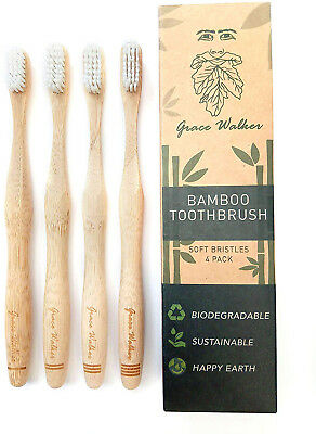 Bamboo Toothbrush, Soft Bristle Heads, 4 Pack, Adults and Kids, Natural, BPA by