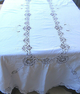 Vintage Bobbin Cluny Lace Oval Tablecloth White Cotton 52 x 102
