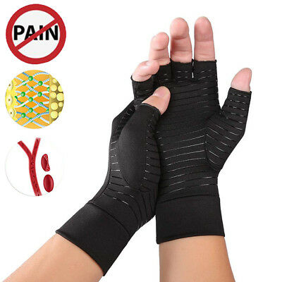 Copper infused Anti Arthritis Gloves Compression Therapy Hand Support Fingerless