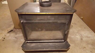 Small to Medium Black Wood Stove, Open Face with Screen