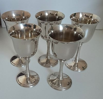 Vintage Stainless Steel Quality Vine Goblets/ Set of 5/ Very Good Condition