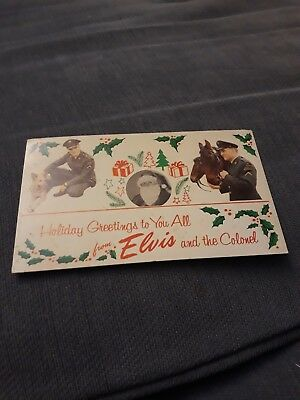 Elvis Presley VINTAGE CHRISTMAS CARD POSTCARD FROM ELVIS AND THE COLONEL
