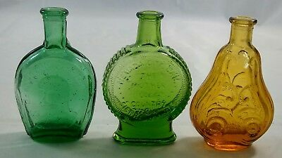 Vintage Green Amber Glass Mini Bottles Benjamin Franklin Wheaton Lot of 3