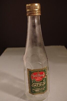 Vintage Collectible Del Monte Catsup Bottle with Metal Screw On Cap