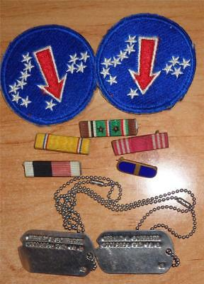 Lot WW II Patch's Ribbons & Dog Tags
