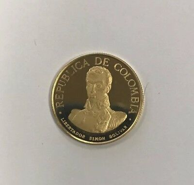 Colombia 1969 Battle of Boyaca 100 Pesos Gold Coin,Proof