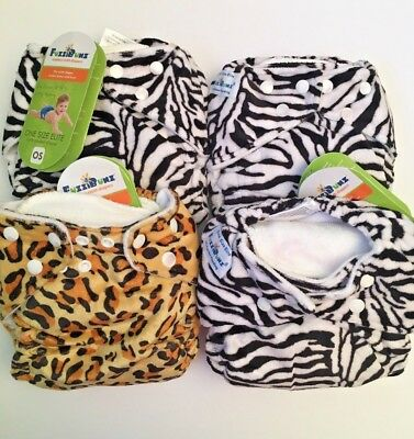 FuzziBunz Elite One Size Pocket Cloth Diaper and Inserts Minky Zebra Cheetah HTF