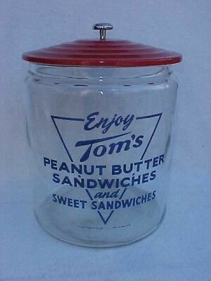 Vintage Tom's Sandwich / Peanut Jar w/ Toms Metal Tin Lid, Lance Display Store