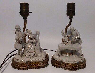 Antique DRESDEN PORCELAIN FIGURINE Germany Table Lamps Brass Base Guilded Rare