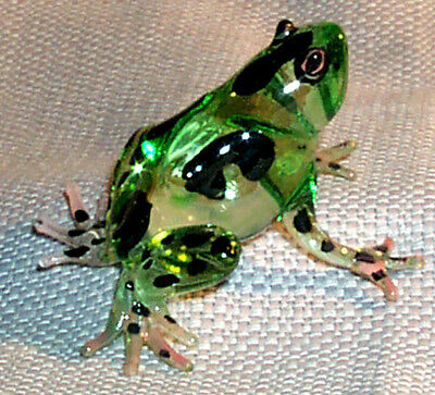 Frog Meadows Puddle Jumper Large Size Art Glass Black Dot On Green Body