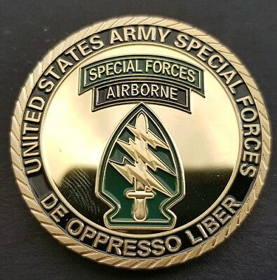US ARMY SPECIAL FORCES AIRBORNE  Challenge Coin FREE COIN STAND AND BRAND NEW FI