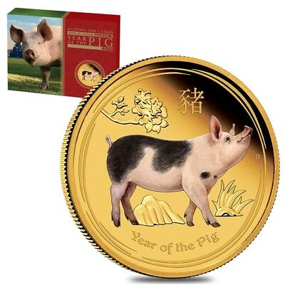 2019 1 oz Proof Colored Gold Lunar Year of The Pig Australia Perth Mint (w/Box &