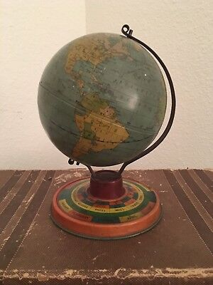 Vintage TIn Globe Zodiac Base Countries approx. 1918 OBO