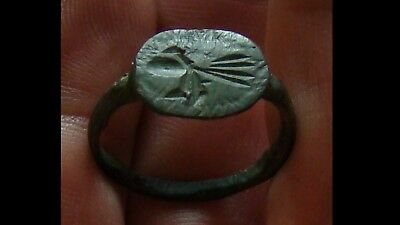 Ancient Viking Old Bronze Ring Runic Ornament VERY RARE