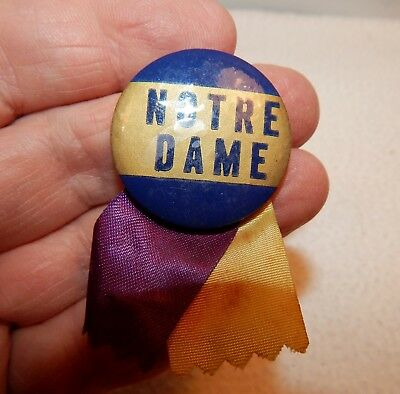 Vintage Notre Dame University Blue + Gold 1 1/4 Inch Pin with ribbons