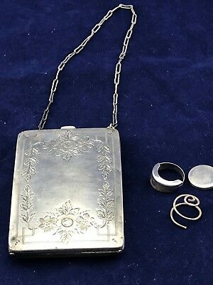 Antique Watrous #741 Sterling Silver Compact Coin Purse w/Chain  91.4g, no monos