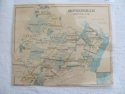 Vintage 1800's H.W. Hurd & Co. Hand Tinted Map of Portsmouth or Rockingham, N.H.