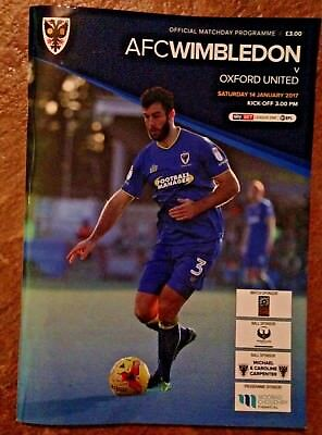 AFC Wimbledon v Oxford United - League 1 - 14/01/2017 Football Programme