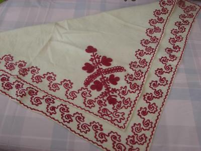 Beautiful Antique,Vintage Neck Shawl, Scarf~Fine Wool~Red Embroidery