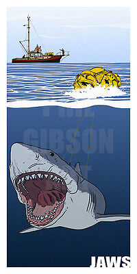"Original ""Rogue"" Jaws Art Print DVD Blu Poster Quint Great White Shark Amity"