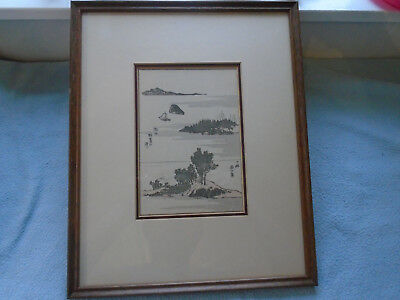 Antique Framed Japanese Woodblock Print (Signed)  Two Islands And Boat Scene
