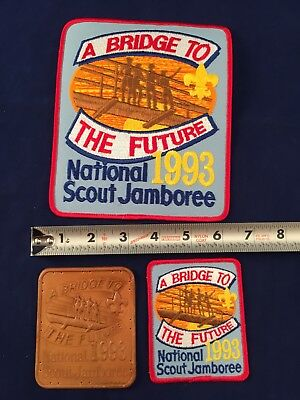 1993 National Jamboree patch Lot Of 3 Leather Back & Small Boy Scouts Bridge To.