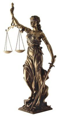 """30"""" Large Lady Justice Statue Bronze Finish Law Attorney Office"""