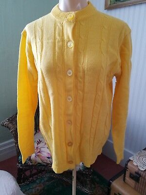 Vintage Canary Yellow Cardigan Sweater Button Up Ladies 42