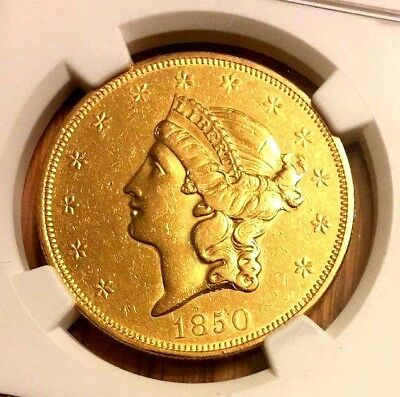 1850 US Gold Type 1 $20 Liberty AU NGC Flashy - 1st Year of Issue!