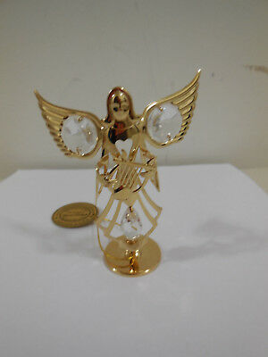 24k Gold Plated Angel with Lyre on Stand w/Clear Swarovski Element Crystal NEW