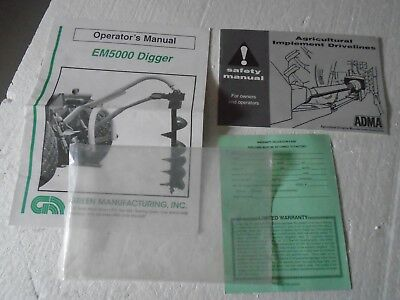 Green Manufacturing EM5000 Tractor Digger Operator & ADMA safety Manual