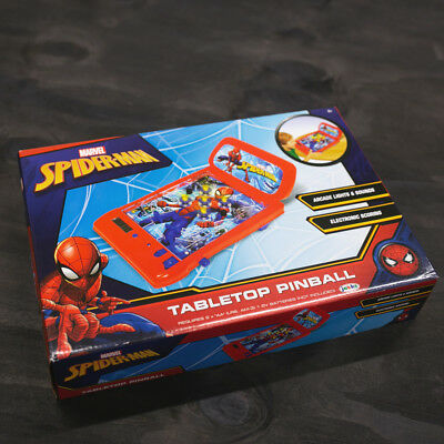 Marvel Spiderman Tabletop Pinball Toy Electronic Scoring Arcade Lights & Sounds