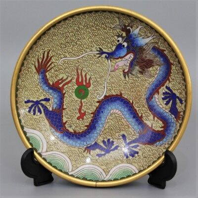 A Good Antique Chinese Cloisonne Enamel Dragon Plate Charger Dish
