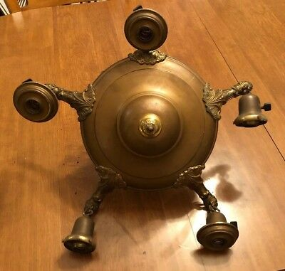 Antique Victorian 1920's Brass 5 Arm Ceiling Hanging Light Fixture ART DECO