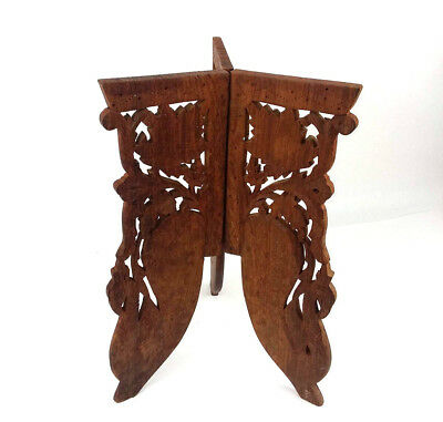 Indian Ethnic Sheesham Wood Folding Tri Leg Table Stand Only 14.25 H