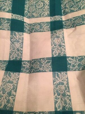 Vintage Teal Check Tablecloth 52 X 94 Heavy Starch (4044)