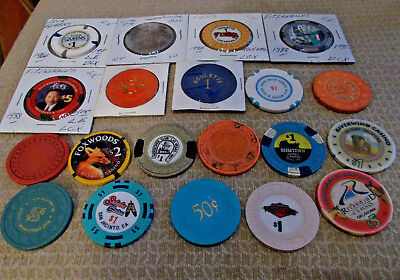 LOT OF 20 MIXED DENOMINATION CASINO  hotel gaming chips ~Various Locations (#1)
